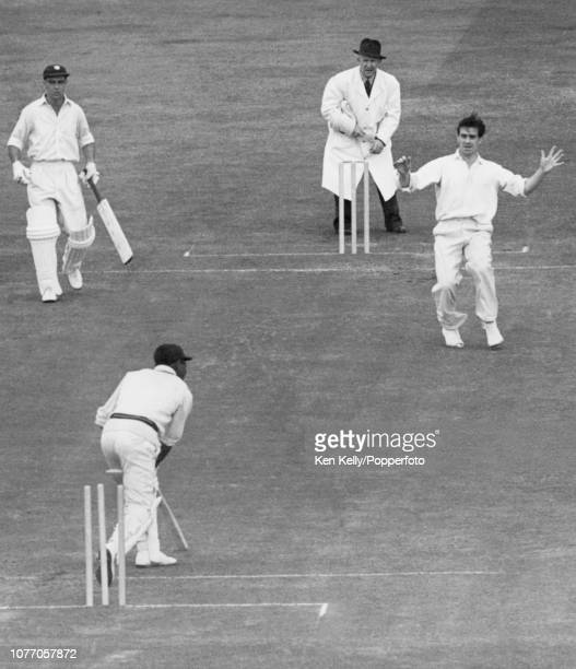 Everton Weekes of West Indies is bowled for 9 runs by Fred Trueman of England during the 1st Test match between England and West Indies at Edgbaston...