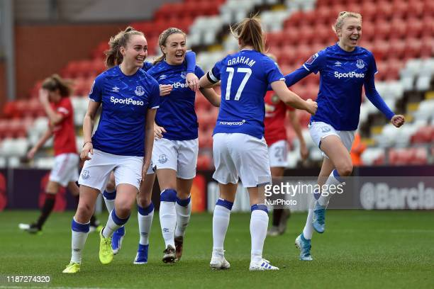 Everton Women celebrate the opening goal during the Barclays FA Women's Super League match between Manchester United and Everton at Leigh Sport...