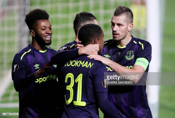 Everton's Ademola Lookman celebrates after scoring during the UEFA Europa League group stage football match between Apollon Limassol and Everton at...