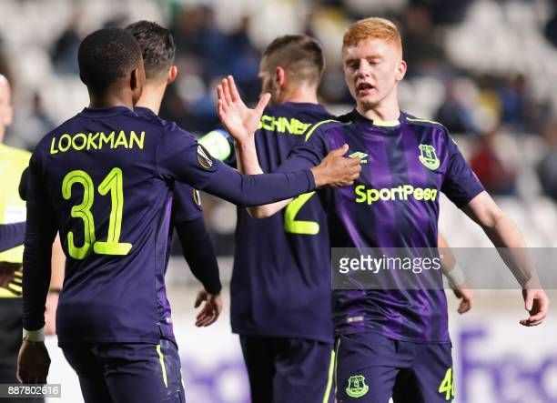 Everton's Ademola Lookman celebrates with his teammate Morgan Feeney after scoring during the UEFA Europa League group stage football match between...