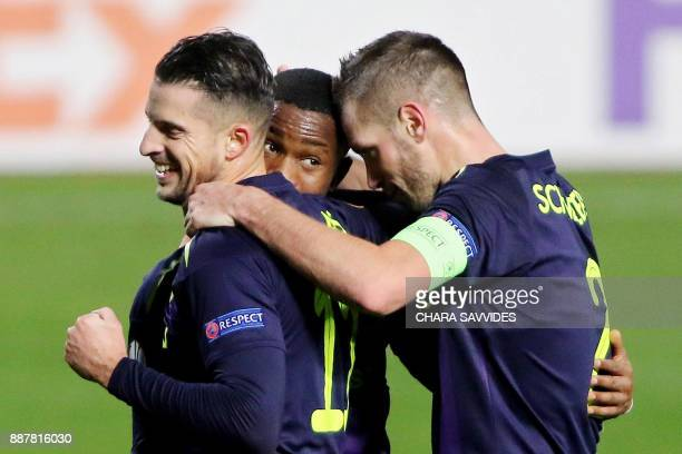 Everton's Ademola Lookman celebrates with his teammates after scoring during the UEFA Europa League group stage football match between Apollon...