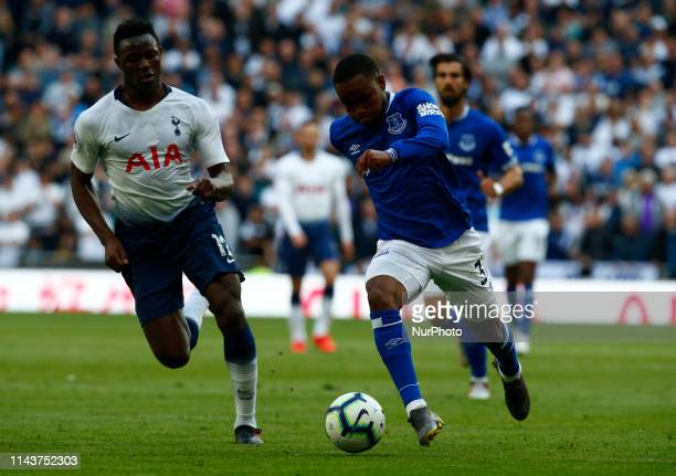 Everton's Ademola Lookman during English Premier League between Tottenham Hotspur and Everton at Tottenham Hotspur Stadium London UK on 12 May 2019