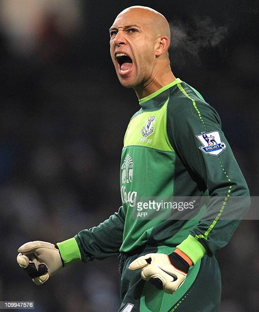 Everton's American goalkeeper Tim Howard celebrates after their second goal during the English Premier League football match against Manchester City...