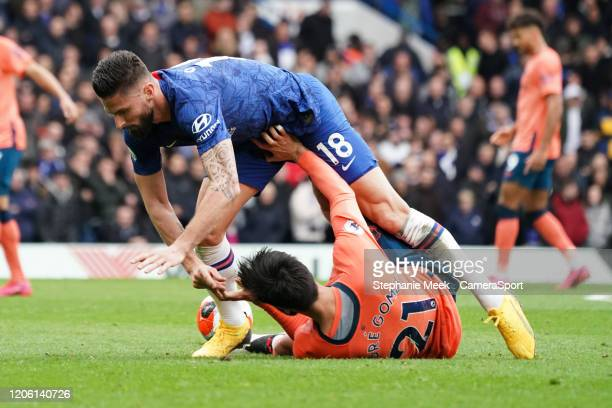 Everton's Andre Gomes is fouled by Chelsea's Olivier Giroud during the Premier League match between Chelsea FC and Everton FC at Stamford Bridge on...