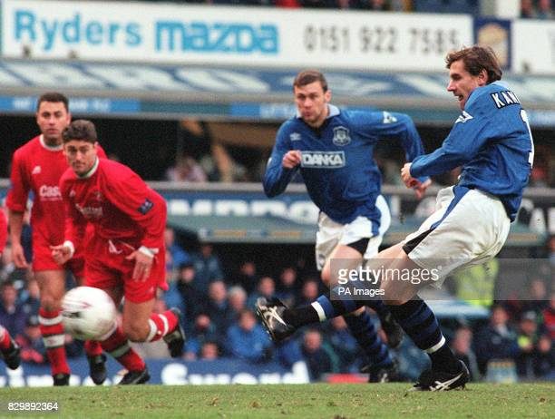 Everton's Andrei Kanchelskis fires the Blues into an early lead from the penalty spot in today's FA Cup 3rd round match against Swindon Pic Dave...