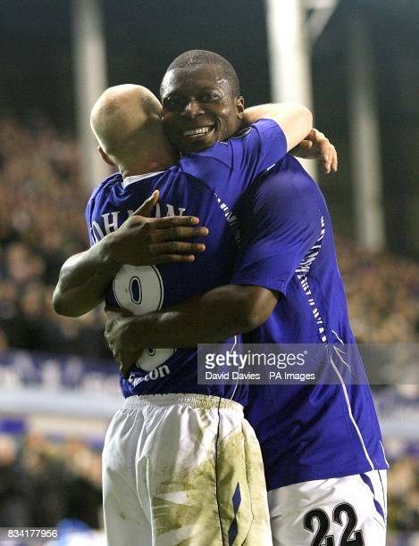 Everton's Andrew Johnson celebrates scoring the second goal of the match with fellow scorer Ayegbeni Yakubu