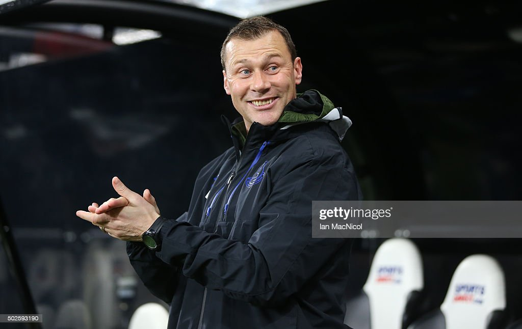 Everton's assistant coach Duncan Ferguson looks on during the Barclays Premier League match between Newcastle and Everton at St James Park on December 26, 2015 in Newcastle, England.