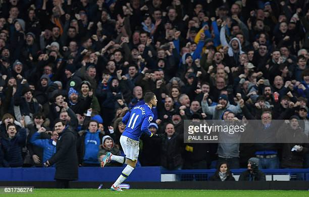Everton's Belgian striker Kevin Mirallas celebrates after scoring their second goal during the English Premier League football match between Everton...