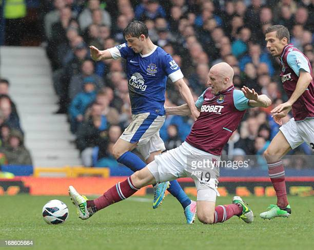 Everton's Belgian striker Kevin Mirallas vies with West Ham United's Welsh defender James Collins during the English Premier League football match...