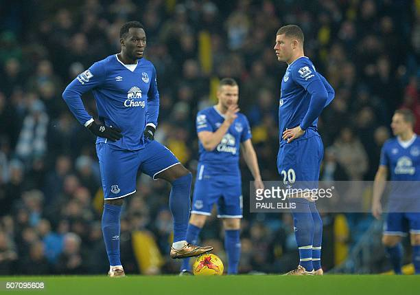 Everton's Belgian striker Romelu Lukaku and Everton's English midfielder Ross Barkley wait for the whistle to start the English League Cup semifinal...