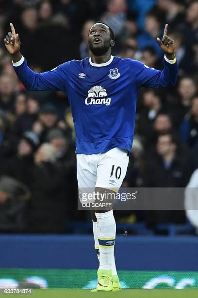 Everton's Belgian striker Romelu Lukaku celebrates after scoring Everton's third goal during the English Premier League football match between...