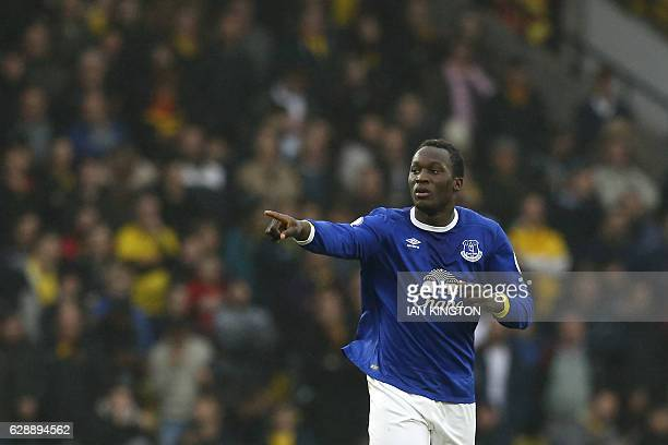 Everton's Belgian striker Romelu Lukaku celebrates after scoring during the English Premier League football match between Watford and Everton at...