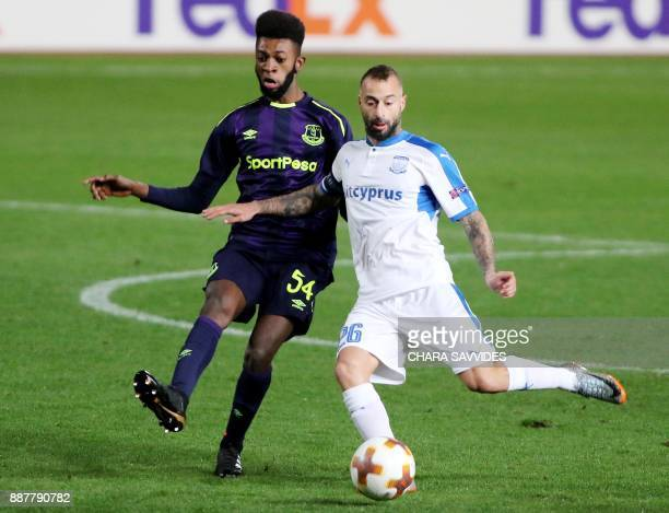Everton's Beni Baningime fights for the ball against Apollon Limassol's Fotis Papoulis during the UEFA Europa League group stage football match...