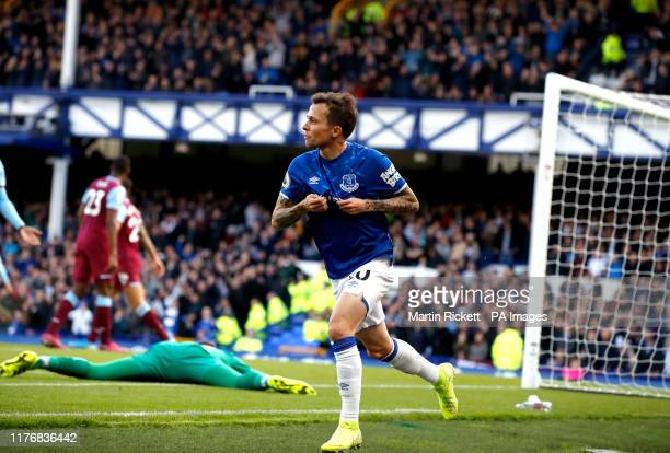 Everton's Bernard celebrates scoring his side's first goal of the game during the Premier League match at Goodison Park Liverpool