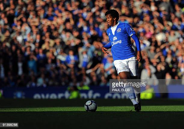 Everton's Brazilian forward Jo controls the ball against Stoke City during their English Premier League football match at Goodison Park in Liverpool...