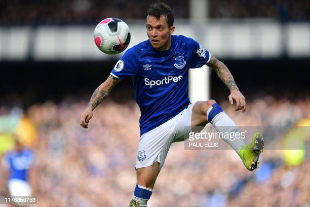 Everton's Brazilian striker Bernard controls the ball during the English Premier League football match between Everton and West Ham United at...