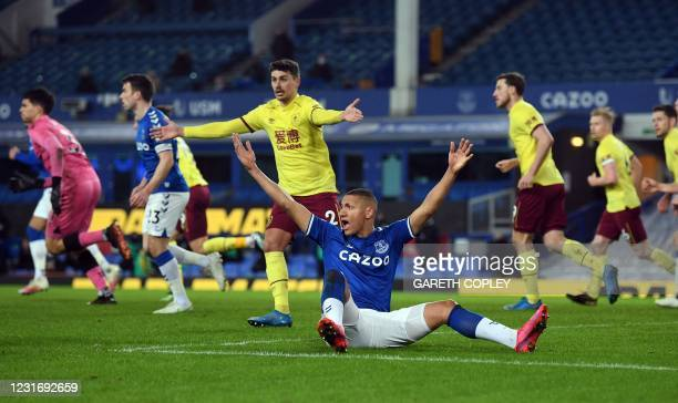 Everton's Brazilian striker Richarlison appeals for a foul during the English Premier League football match between Everton and Burnley at Goodison...