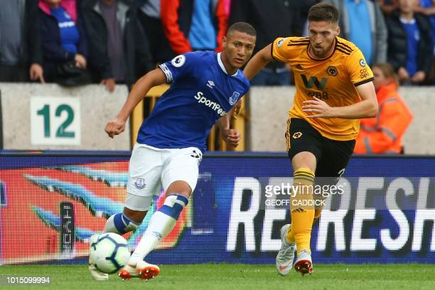 Everton's Brazilian striker Richarlison plays the ball during the English Premier League football match between Wolverhampton Wanderers and Everton...