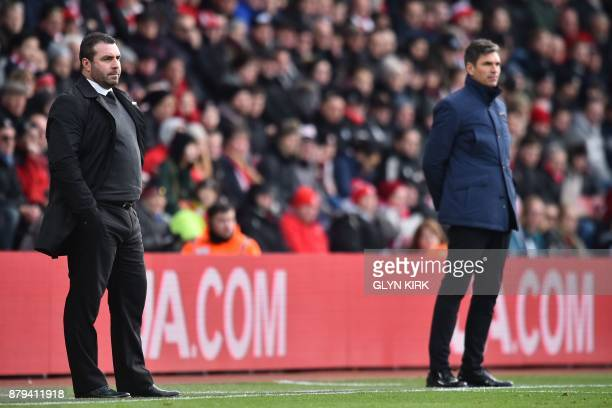 Everton's caretaker manager David Unsworth and Southampton's Argentinian manager Mauricio Pellegrino watch from the touchline during the English...