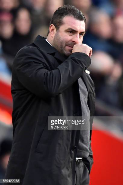 Everton's caretaker manager David Unsworth gestures on the touchline during the English Premier League football match between Southampton and Everton...