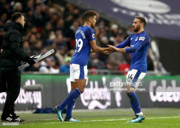 Everton's Cenk Tosun is substituted for team mate Dominic CalvertLewin during the Premier League match at Wembley Stadium London