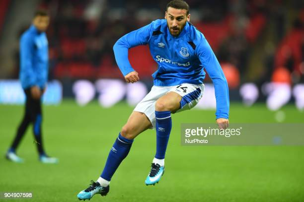 Everton's Cenk Tosun warms up during the Premier League match between Tottenham Hotspur against Everton at Wembley Stadium London England on 13 Jan...