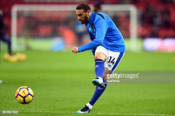 Everton's Cenk Tosun warms up for his first start during the Premier League match between Tottenham Hotspur against Everton at Wembley Stadium London...
