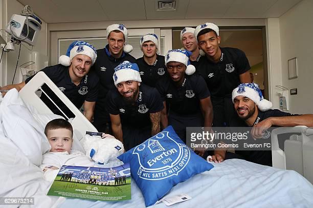 Everton's club captain Phil Jagielka, Enner Valencia, Aaron Lennon, Maarten Stekelenburg, Mason Holgate, Mateusz Hewelt, Ashley Williams and Matthew...