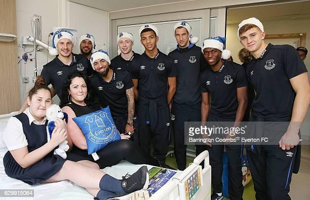 Everton's club captain Phil Jagielka Enner Valencia Aaron Lennon Maarten Stekelenburg Mason Holgate Mateusz Hewelt Ashley Williams and Matthew...