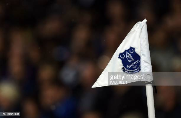 Everton's club crest is seen on the corner flag during the English Premier League football match between Everton and Leicester City at Goodison Park...