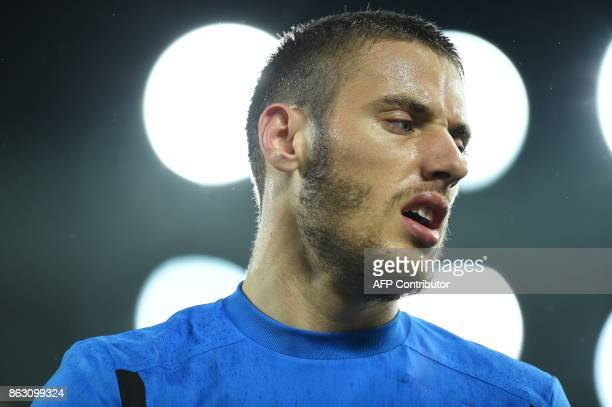 Everton's Croatian striker Nikola Vlasic warms up ahead of the UEFA Europa League Group E match between Everton and Lyon at Goodison Park in...