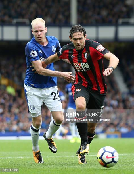 Everton's Davy Klaassen and AFC Bournemouth's Charlie Daniels in action