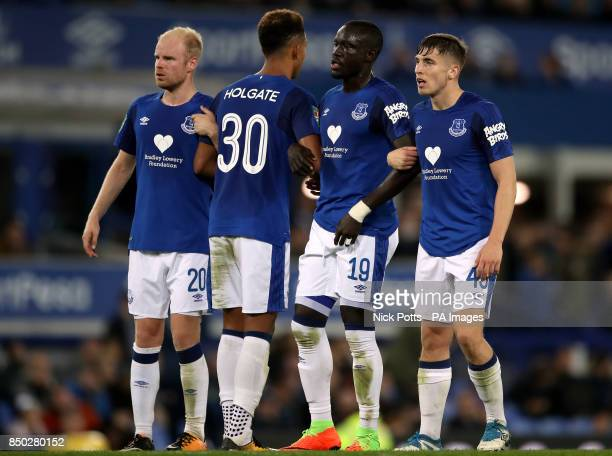 Everton's Davy Klaassen Mason Holgate Enner Valencia and Jonjoe Kenney during the Carabao Cup Third Round match at Goodison Park Liverpool