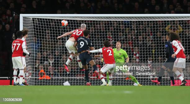 Everton's Dominic CalvertLewin goes close with a late header during the Premier League match between Arsenal FC and Everton FC at Emirates Stadium on...