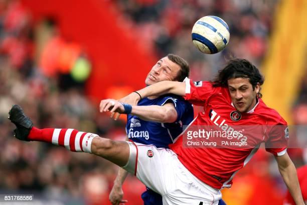Everton's Duncan Ferguson and Charlton Athletic's Gonzalo Sorondo