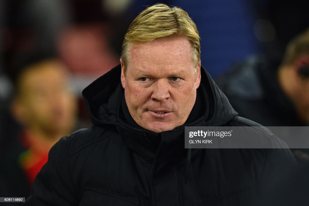 Everton's Dutch manager Ronald Koeman arrives for the English Premier League football match between Southampton and Everton at St Mary's Stadium in Southampton, southern England on November 27, 2016. / AFP PHOTO / Glyn KIRK / RESTRICTED TO EDITORIAL USE. No use with unauthorized audio, video, data, fixture lists, club/league logos or 'live' services. Online in-match use limited to 75 images, no video emulation. No use in betting, games or single club/league/player publications. /