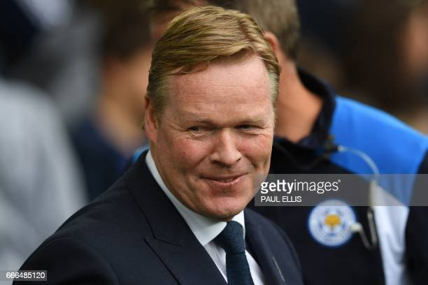 Everton's Dutch manager Ronald Koeman arrives for the English Premier League football match between Everton and Leicester City at Goodison Park in...