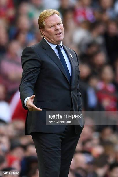 Everton's Dutch manager Ronald Koeman gestures on the touchline during the English Premier League football match between Manchester United and...