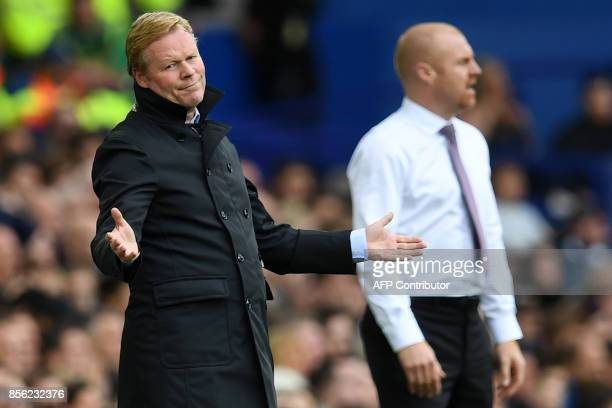 Everton's Dutch manager Ronald Koeman gestures on the touchline during the English Premier League football match between Everton and Burnley at...