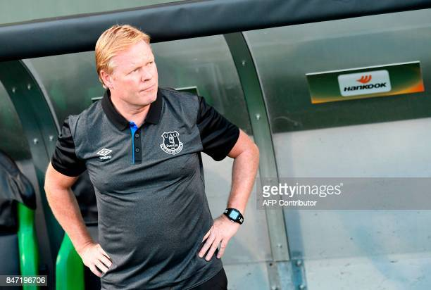 Everton's Dutch manager Ronald Koeman looks on prior to the UEFA Europa League Group E football match Atalanta vs Everton at The Stadio Città del...