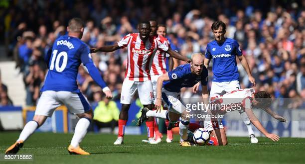 Everton's Dutch midfielder Davy Klaassen controls the ball during the English Premier League football match between Everton and Stoke City at...