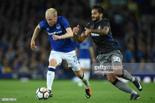 Everton's Dutch midfielder Davy Klaassen vies with Hajduk Split's Greek midfielder Savvas Gentsoglou during the UEFA Europa League playoff round...