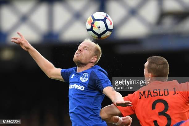 Everton's Dutch midfielder Davy Klaassen vies with MFK Ruzomberok's Jan Maslo during the UEFA Europa League third qualifying round Game 1 match...