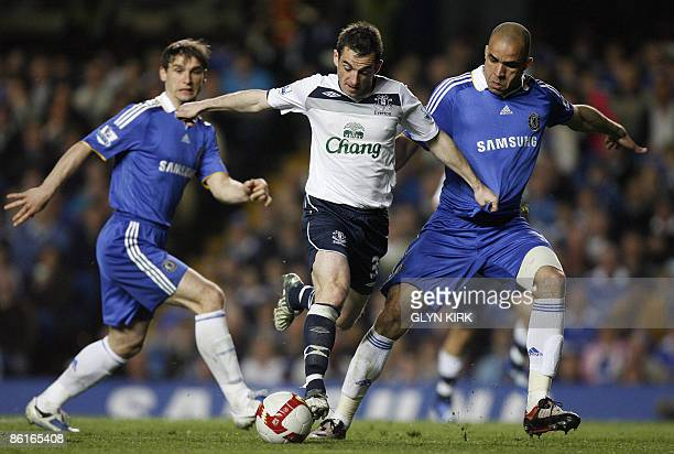 Everton's English defender Leighton Baines vies with Chelsea's Brazilian defender Alex and Serbian defender Branislav Ivanovic during their Premier...