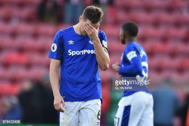 Everton's English defender Phil Jagielka reacts on the final whistle in the English Premier League football match between Southampton and Everton at...