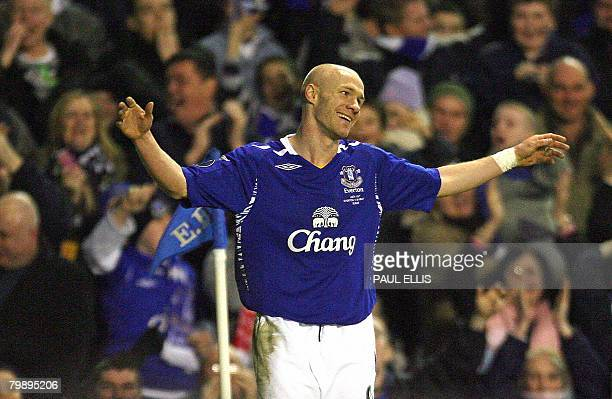 Everton's English forward Andrew Johnson celebrates scoring against SK Brann during their UEFA Cup football match at Goodison Park in Liverpool...