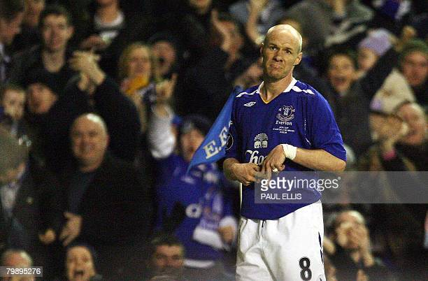 Everton's English forward Andrew Johnson reacts to scoring against SK Brann during their UEFA Cup football match at Goodison Park in Liverpool...