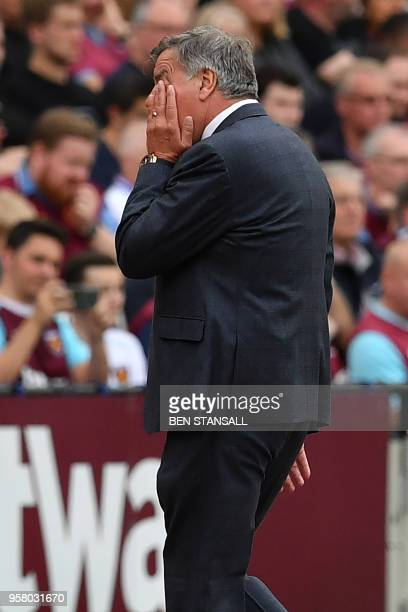 Everton's English manager Sam Allardyce gestures on the touchline during the English Premier League football match between West Ham United and...