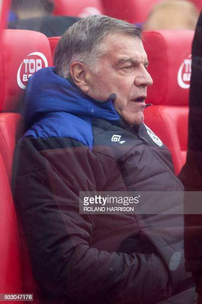 Everton's English manager Sam Allardyce looks on before the English Premier League football match between Stoke City and Everton at the Bet365...