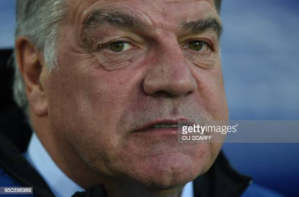 Everton's English manager Sam Allardyce reacts ahead of the English Premier League football match between Everton and Newcastle United at Goodison...